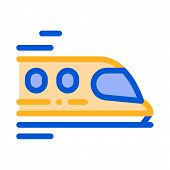 Public Transport Train Vector Thin Line Sign Icon. Long-distance Fast-moving Train Urban Passenger T poster