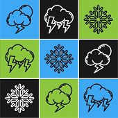 Set Line Storm, Snowflake And Storm Icon. Vector poster