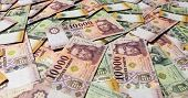 Pile of banknotes as a background (hungarian forint) poster