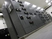 stock photo of substation  - electrical panel in electrical room shot at an angle from a low viewpoint