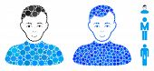 Boy Mosaic Of Filled Circles In Various Sizes And Color Tinges, Based On Boy Icon. Vector Filled Cir poster