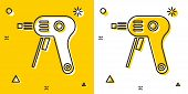 Black Electric Hot Glue Gun Icon Isolated On Yellow And White Background. Hot Pistol Glue. Hot Repai poster