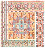 Постер, плакат: Вышивка крестом этнической Украины шаблон дизайна