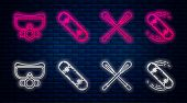 Set Line Skateboard Trick, Crossed Paddle, Diving Mask And Skateboard Trick. Glowing Neon Icon On Br poster