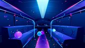 Party Bus Inside. Vector Cartoon Illustration Of Empty Limousine Nightclub Interior With Neon Disco  poster