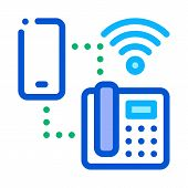 Smartphone And Home Telephone Wi-fi Connection Icon Vector. Outline Smartphone And Home Telephone Wi poster