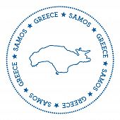 Samos Map Sticker. Hipster And Retro Style Badge. Minimalistic Insignia With Round Dots Border. Isla poster