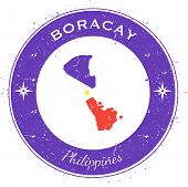 Boracay Circular Patriotic Badge. Grunge Rubber Stamp With Island Flag, Map And Name Written Along C poster