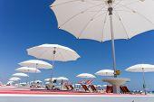 white beach umbrellas
