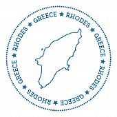 Rhodes Map Sticker. Hipster And Retro Style Badge. Minimalistic Insignia With Round Dots Border. Isl poster