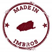 Imbros Seal. Vintage Island Map Sticker. Grunge Rubber Stamp With Made In Text And Map Outline, Vect poster