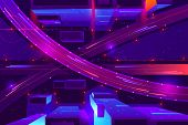 Metropolis Night Freeway Neon Colors, Top View Cartoon . Cars Going In Two Level Highway With Juncti poster