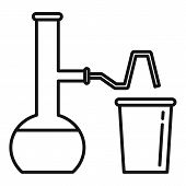 Pipe Flask Glass Lab Icon. Outline Pipe Flask Glass Lab Vector Icon For Web Design Isolated On White poster