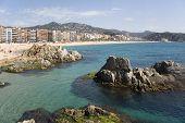 Spain, Lloret De Mar. View Of A Beach.