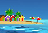 stock photo of beach-house  - An illustration scenic beach landscape - JPG