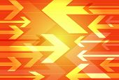 Dynamic orange background of opposing arrows