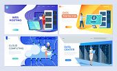 Set Of Landing Page Template For Hosting, Data Protection, Data Center, Cloud Computing. Modern Vect poster