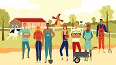 Multiethnic Team Of Farmers Working Together On The Farm Background. Farm Panorama. Flat Style. Vect poster