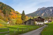 Idyllic scenery of the Santa Maddalena village in South Tyrol at autumn. Italy poster