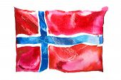 Norway, Norwegian Flag. Hand Drawn Watercolor Illustration. poster