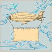 Banner de vôo dirigível para texto sobre retro fundo de céu azul