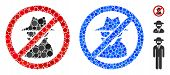 No Spy Mosaic Of Small Circles In Various Sizes And Color Tints, Based On No Spy Icon. Vector Small  poster