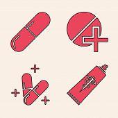 Set Ointment Cream Tube Medicine, Medicine Pill Or Tablet, Medicine Pill Or Tablet And Medicine Pill poster