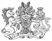 Heraldic Emblem With Unicorn And Fairy Lion Beast On White, Line Art. Hand Drawn Engraved Illustrati poster
