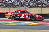 SONOMA, CA - JUN 24, 2012:  Jamie McMurray (1) brings his car through the turns during the Toyota Sa