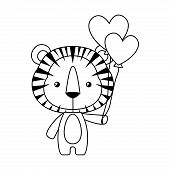 Cute Tiger With Hearts Balloons Design, Animal Zoo Life Nature Character Childhood And Adorable Them poster