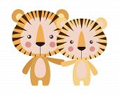 Cute Tigers Cartoons Design, Animal Zoo Life Nature Character Childhood And Adorable Theme Vector Il poster