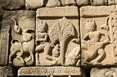 Ancient Khmer Bestiality Carving, Angkor Thom, Cambodia