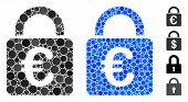 Euro Lock Composition Of Round Dots In Various Sizes And Shades, Based On Euro Lock Icon. Vector Rou poster