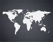 Vector illustration of high-detailed world map over linen texture.