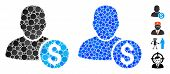 Businessman Mosaic Of Round Dots In Various Sizes And Color Tinges, Based On Businessman Icon. Vecto poster