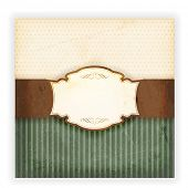 Invitation, anniversary card with label for your personalized text on beige and green background wit