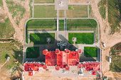 Kosava, Belarus. Aerial Birds-eye View Of Famous Popular Historic Landmark Kosava Castle. Puslowski  poster