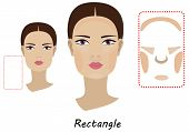 Contour And Makeup Highlights. Contour Shape Of The Rectangle Face Make-up. Fashion Illustration. Fl poster