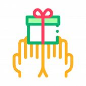 Hands Giving Gift Icon Vector. Outline Hands Giving Gift Sign. Isolated Contour Symbol Illustration poster