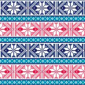 Fair Isle Style Traditional Knitwear Vector Seamless Pattern From Scotland, Knit Repetitive Design W poster