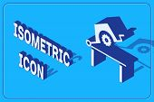Isometric Table Saw For Woodwork Icon Isolated On Blue Background. Power Saw Bench. Vector Illustrat poster