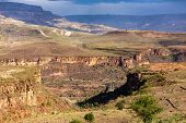Beautiful Canyon With Bridge, Landscape With Dry River Bed, Somali Region. Ethiopia Wilderness Lands poster