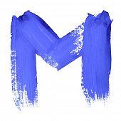 M - Blue handwritten letters over white background
