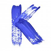 K - Blue handwritten letters over white background