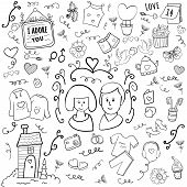 Happy Valentine. 14 February Doodle. Hearts And Love. Married Couple. Cartoon Vector Doodle Illustra poster
