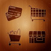 Set Shopping Building Or Market Store, Credit Card, Shopping Cart And Food And Shopping Cart On Wood poster
