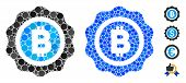 Bitcoin Seal Mosaic Of Round Dots In Variable Sizes And Color Hues, Based On Bitcoin Seal Icon. Vect poster
