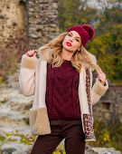 Quit Morning. Autumn Season Clothes And Accessory. Girl Long Hair In Hat. Woman In Sweater And Half- poster