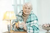 Smiling Old Lady In Glasses Relaxing At Home. She Is Wrapped In A Checkered Plaid Is Drinking Tea. S poster