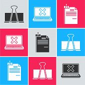 Set Binder Clip, Laptop And Cross Mark On Screen And File Document And Binder Clip Icon. Vector poster
